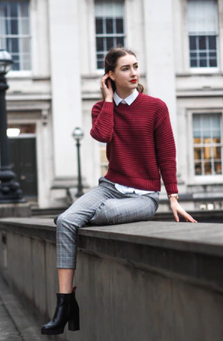 Cotton-pants,-white-button-down-and-a-sweater